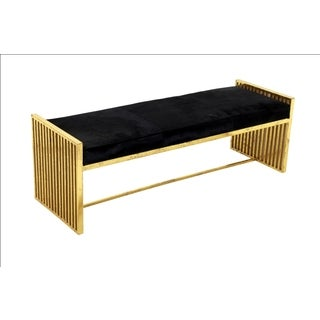 Horizon Black Leather And Gold Metal Bench