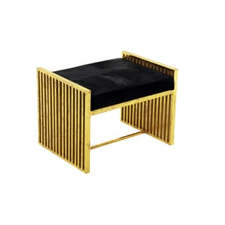 Horizon Modern Goldtone Metal And Black Leather Stool