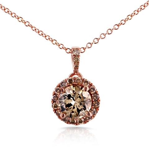 Annello by Kobelli 18k Rose Gold 1 1/10ct TDW Brown and Champagne Diamond Pendant with 14k Rose Gold