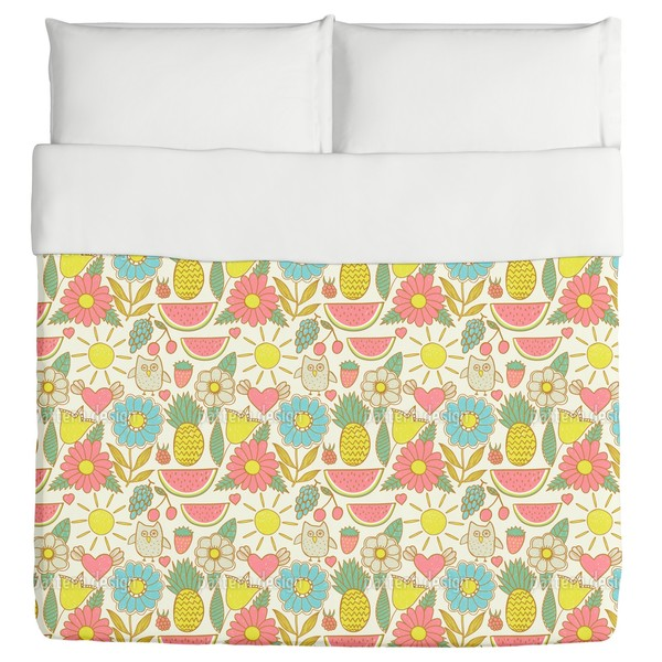 Owls On Holiday Duvet Cover