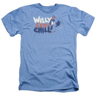 Chilly Willy/I Say Chill Adult Heather T-Shirt in Light Blue
