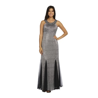 R&M Richards Black Polyester Silver-beaded Gown