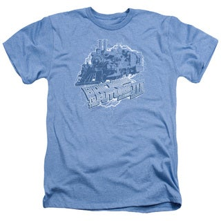 Back To The Future Iii/Time Train Adult Heather T-Shirt in Light Blue