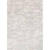 "Microfiber Light Grey Distressed Paisley Rug - 6'7"" x 9'2"""