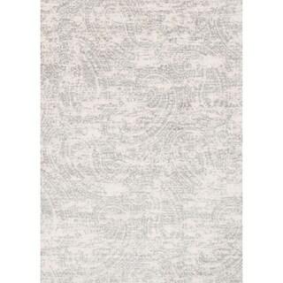 Microfiber Light Grey Distressed Paisley Rug - 6'7 x 9'2