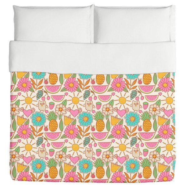 Owls On Vacation Duvet Cover