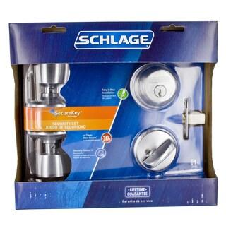 Schlage FB50NVBEL626 Satin Chrome Bell Keyed Knob Front Entry Set