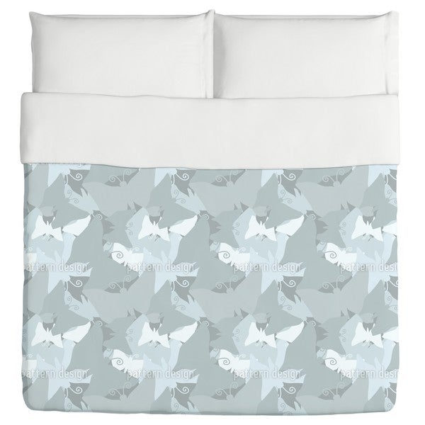 The Journey of the Blue Butterflies Duvet Cover