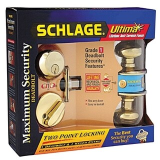 Schlage FB50NVGEO605 Bright Brass Georgian Keyed Knob Front Entry Set