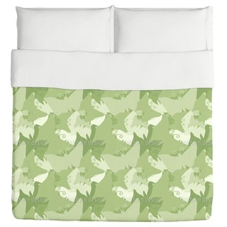 The Journey of the Green Butterflies Duvet