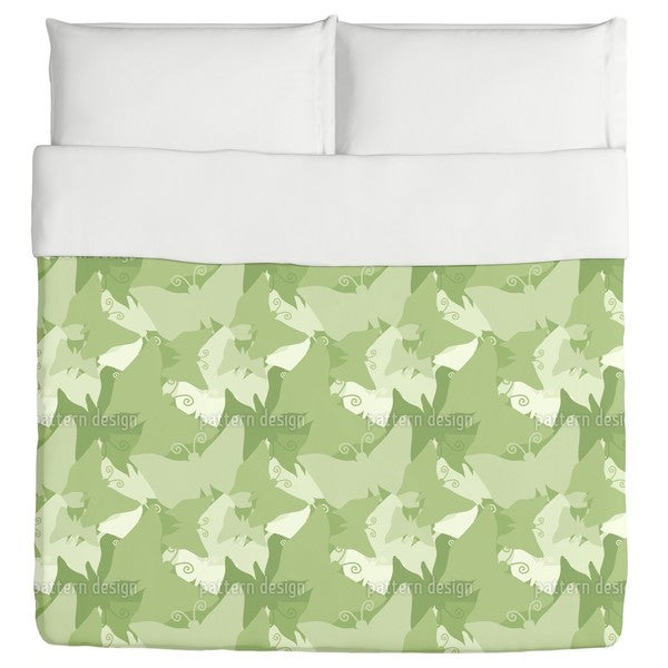 The Journey of the Green Butterflies Duvet Cover