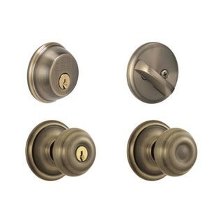 Schlage FB50NVGEO609 Antique Brass Georgian Keyed Front Entry Set