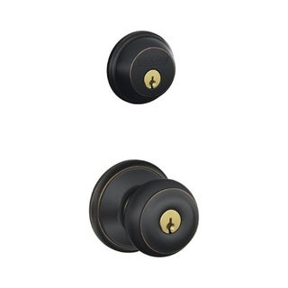 Schlage FB50NVGEO716 Aged Bronze Georgian Keyed Front Entry Set