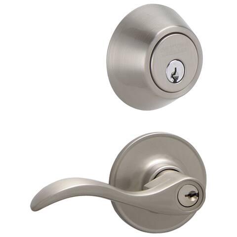 Schlage JC60VSEV619 Satin Nickel Seville Security Combo Deadbolt & Entry Lockset