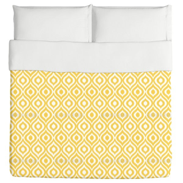 Yellow Ogee Damask Duvet Cover