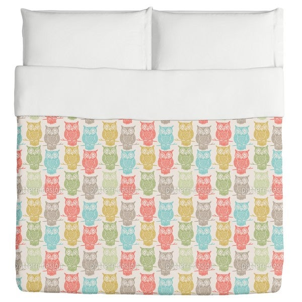 Colored Owls Look Out Duvet Cover