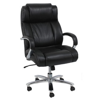 Nola Black Leather/Faux-leather/Metal Office Chair