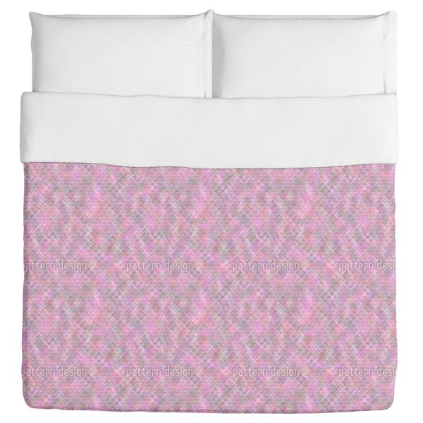 Confusion of the Pink Squares Duvet Cover