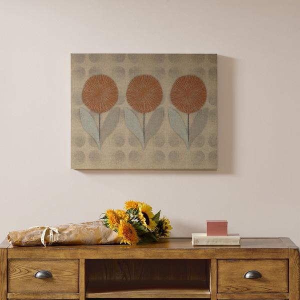 Intelligent Design Mid Mod Orange Flowers Print on Linen Canvas