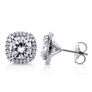 Annello 14k White Gold Cushion Moissanite and 1/3ct TDW Halo Diamond Stud Earrings (G-H, I1-I2)