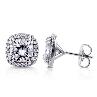 Annello by Kobelli 14k White Gold 4 1/3ct TGW Cushion Moissanite (HI) and Halo Diamond (GH) Stud Earrings