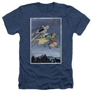 Batman/Dkr Duo Adult Heather T-Shirt in Navy