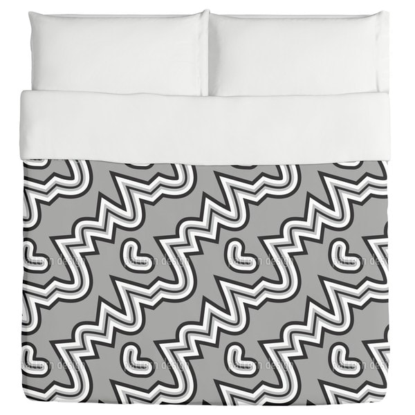 Heartbeat Black And White Duvet Cover