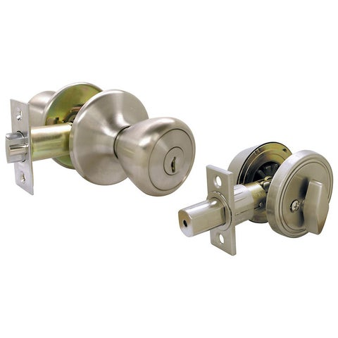 Ultra Hardware 43971 SS Single Cylinder Deadbolt & Entry Combo Lockset - Stainless Steel