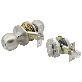 Ultra Hardware 43975 Satin Nickel Single Cylinder Deadbolt & Entry Combo Lockset