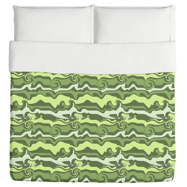 Green Wave Chaos Duvet Cover