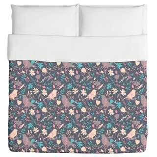 Birds Behind Floral Thicket Duvet Cover