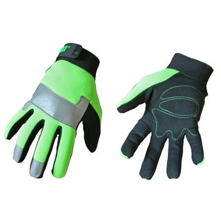 Cat Gloves CAT012214J Jumbo Fluorescent Green Spandex Back Gloves