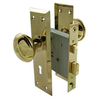 "Ultra Hardware 44609 2-1/4"" Brass Old Time Mortise Interior Door Lock Set"