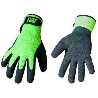 Cat Gloves CAT017417J Jumbo Fluorescent Green Latex Coated Knit Gloves