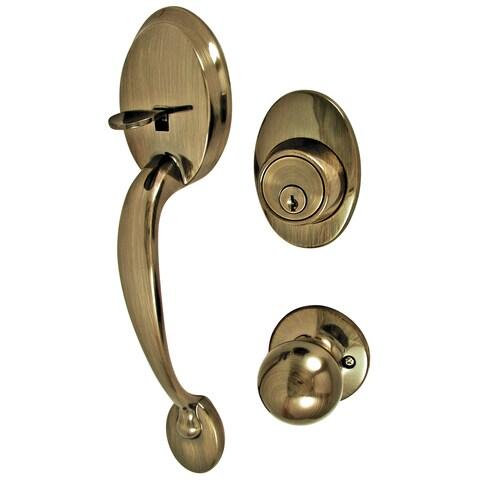 Ultra Hardware 45035 Antique Brass Single Cylinder Deadbolt & Entry Combo Lockset
