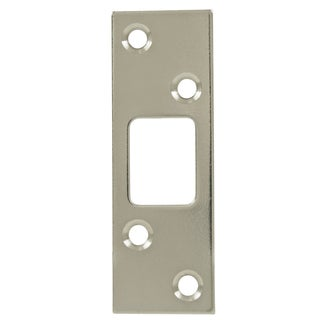 "Ultra Hardware 58166 3-5/8"" X 1-1/4"" Satin Nickel Deadbolt Strike Plate"