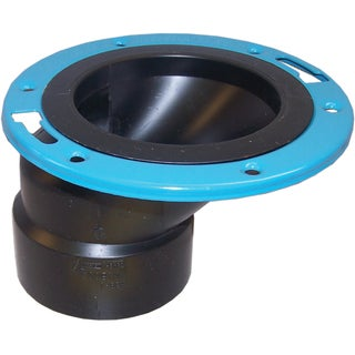"""Genova Products 85160 4"""" X 3"""" ABS Offset Closet Flange With Metal Ring"""