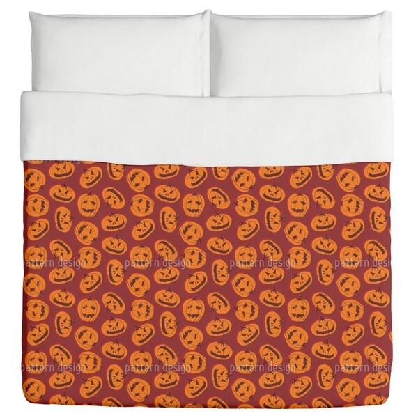 Pumpkin Heads Brown Duvet Cover