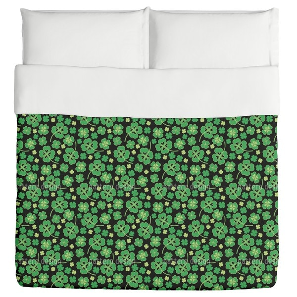 Lucky Clover On Black Duvet Cover