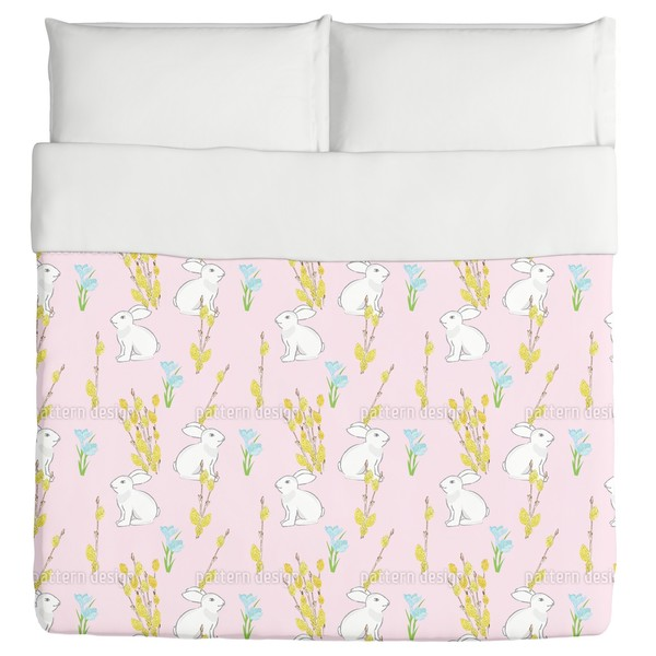 Easter Bunny And Flowering Willow Duvet Cover