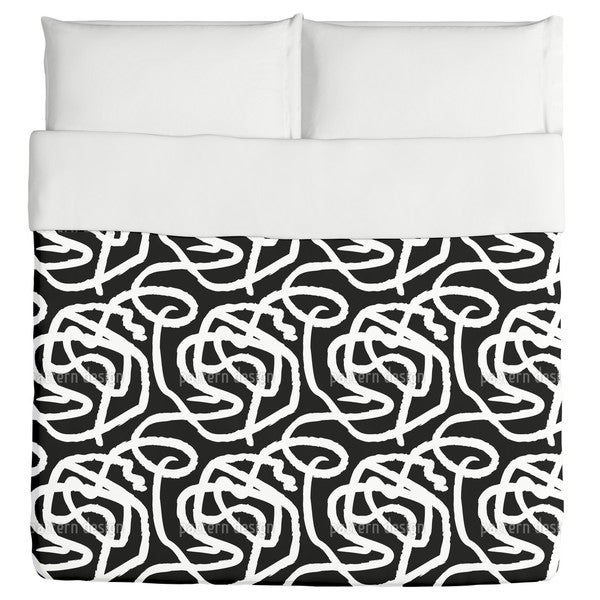 Black And White Painting Duvet Cover