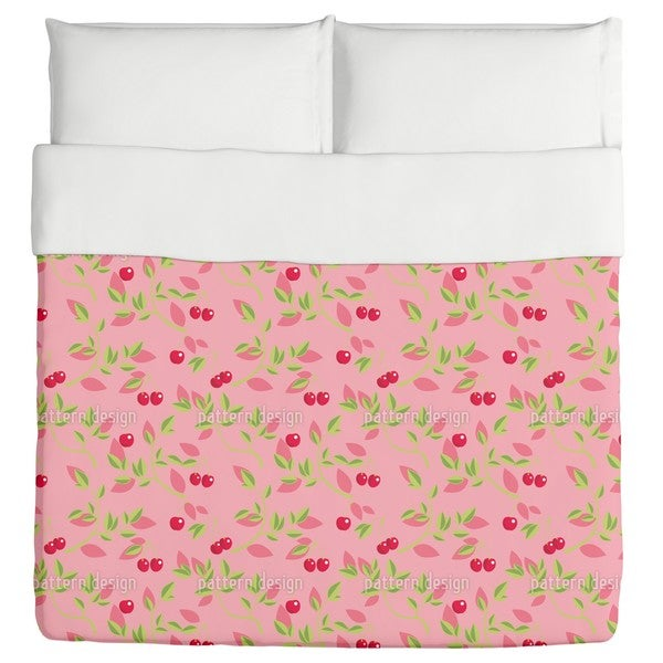 Cherry Branches Pink Duvet Cover