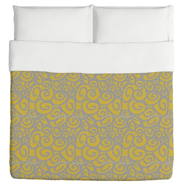 Beginning And End Gold Silver Duvet Cover