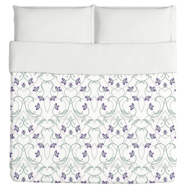 Flowers On the Gothic Gate Duvet Cover
