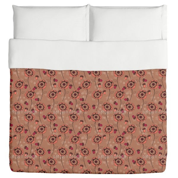 Boehme Fantasy Flowers Brown Duvet Cover