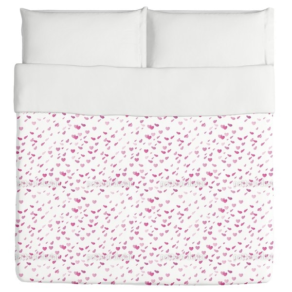 Hearty Rain On Valentines Day Duvet Cover