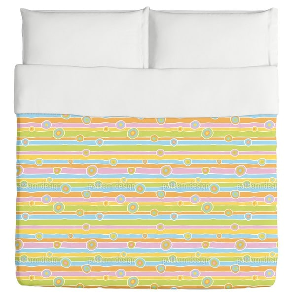 Funny Stripes And Circles Duvet Cover