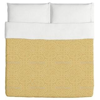 Elegant Lace Pattern in Gold Duvet Cover