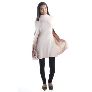 Hadari Women's Beige Cowl Neck Bat Cape Sleeve Cardigan