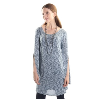 Hadari Women's Long Sleeve Scoop Neck Casual Party Tunic with Arm Slits